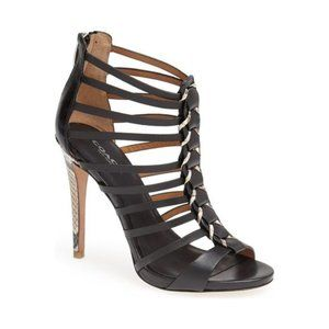 Coach Caged Black Leather Snake High Heels | 5